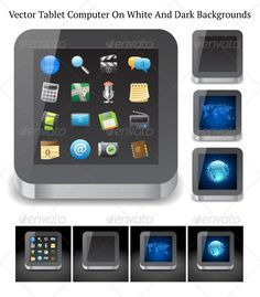Tablet Computer  #GraphicRiver         Tablet Computer with app icons and various backgrounds on display. Each variation of Tablet Computer presents on white and on dark backgrounds, each in separate file. Fully editable vector saved as EPS10, artwork contains objects with transparency effect. Also included: hi-res JPEGs.     Created: 26February13 GraphicsFilesIncluded: JPGImage #VectorEPS Layered: No MinimumAdobeCSVersion: CS Tags: brushed #clip-art #design #device #digital #electronics…