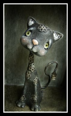 Picasso The black cat RESERVED Listing A by AnthiArtdolls on Etsy
