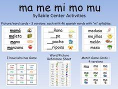 Syllable Centers - ma me mi mo mu/ Spanish silabas