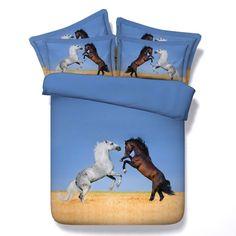 Horse Bedding sets sheet bed in a bag star moon duvet cover set bedspread Cal King queen size twin single bedsheet linen King Size Duvet Covers, Comforter Cover, Black Comforter, 3d Bedding Sets, Quilt Sets, Comforter Sets, Horse Themed Bedrooms, Horse Bedding, Unicorn Bed Set