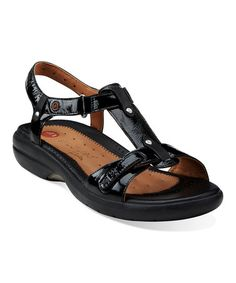 Black Un.Shade Leather Sandal #zulily #zulilyfinds
