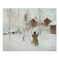 Carl Larsson - Front Yard and the Wash House Posters