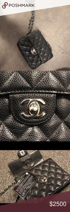 Authentic Chanel square mini Flap caviar crossbody Authentic. Selling anywhere from 3-4K on different platform same style. Great opportunity to get a steal. Come with authenticity card that matches sticker in the bag. The bag has signs of wear where there is creasing. Overall good condition. Any questions or concerns let me know. Thanks CHANEL Bags Crossbody Bags