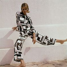 Pucci, 1965, Model is wearing black and white silk pajamas.