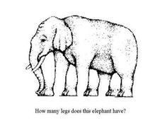 Pachyderm Optical Illusion. How many legs does this elephant have? #optical #illusions #puzzles #visual