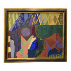 Mid Century Modern Multi Color Abstract Painting by Mayer C.1951 | Chairish Mid Century Modern Art, Art For Sale, Oil On Canvas, Mid-century Modern, Abstract, Frame, Painting, Vintage, Color