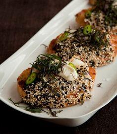 giant prawn toast w/ black sesame & shiso