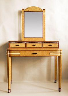 Art Deco Vanity Table with Mirror This beautiful Art Deco Style Vanity Table is made of Birdseye Maple, Bubinga, Maple and Ebony.