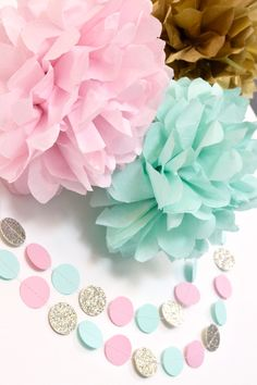 This pink, Mint & gold garland will add a beautiful element to any party decor! This is made from heavy cardstock and measures 10 long. The