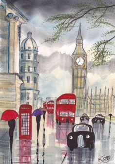'Rainy Day~London' Watercolor by British artist KJ Carr Art And Illustration, London Illustration, London Rain, London City, Illustrator, Drawn Art, Umbrella Art, Art Portfolio, Rainy Days