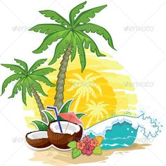 Buy Tropical Landscape Coconut by iostephy on GraphicRiver. tropical landscape with palm trees and coconut drink-eps 10 Palm Trees Landscaping, Tropical Landscaping, Coconut Tree Drawing, Sun Drawing, Cupcake Day, Bridal Boxes, Coconut Drinks, Sun Painting, Tank Design