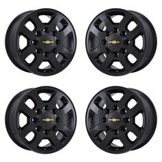 SET (4) 18x8 CHEVROLET SILVERADO 2500 3500 BLACK WHEELS. FACTORY OEM SET OF WHEELS OUTRIGHT. FACTORY ORIGINAL (OEM) WHEELS. THESE WHEELS WERE ORIGINALLY NICE USED OR NEW TAKE-OFF WHEELS THAT WE STRIPPED AND COATED.   eBay! Oem Wheels, Chrome Wheels, Black Wheels, Wheels And Tires, 2015 Chevy Silverado 2500, Chevy Silverado Accessories, Nice Cars, Truck, Ebay