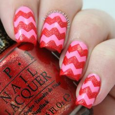 Pink and red textured valentine mani nail art by Jordan