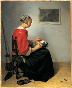 Photo: One of our most famous works and a true masterpiece, here is  Caspar Netscher's The Lace Maker from 1662. Dutch culture at the time feared the natural vices of women if left unsupervised, so numerous books and paintings, such as this one, were produced to helpfully demonstrate the ideal woman. This Lace Maker is shown with abandoned shoes showing she cannot wander off, a broom to represent her cleanliness, and a simple dress to highlight her modesty.