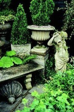 Garden Urns, Love Garden, Shade Garden, Dream Garden, Garden Stones, Garden Inspiration, Garden Ideas, Garden Ornaments, Outdoor Gardens