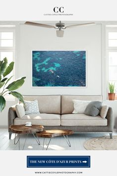 Oversized art print showing an aerial view of the abstract turquoise, blue and teal shapes of the floor of the Mediterranean Sea with vacationers kayaking, paddle boarding and swimming in the crystal clear water above. Prints are available unframed and framed in sizes up to 40x60 inches. Coastal Wall Decor, Coastal Art, Beach House Decor, Coastal Living, Home Decor, Turquoise Art, Teal, House Art, Mediterranean Sea