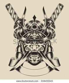 Illustration of mask samurai warrior with katana sword.