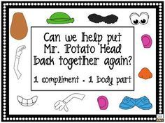 FREE Mr. Potato Head compliment sign- idea for classroom management