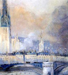 Robert Antoine Pinchon - Rouen, le pont de Pierres au brume du soir (1920)