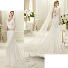 Elegant White Chiffon Pleated Long Sleeve Vintage Inspired Style Spring Fall Wedding Dress Gown New