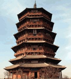 Yingxian Wooden Pagoda , built in 1056 .( the oldest wooden Buddhist pagoda in existence)