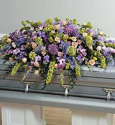 lavender and peach Casket Spray, Casket Flower Arrangement Casket Flowers, Grave Flowers, Cemetery Flowers, Funeral Flowers, Funeral Floral Arrangements, Flower Arrangements, Funeral Planning, Funeral Ideas, Funeral Caskets