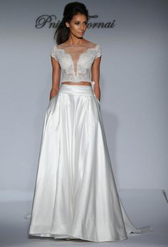 Top 10 Wedding Dress Trends for 2016: Crop Tops/Bridal Separates   SouthBound Bride   http://www.southboundbride.com/from-catwalk-to-aisle-10-key-wedding-dress-trends-for-2016   Dress by Pnina Tornai via The Knot