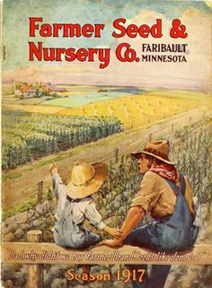 "Father and son take a break from their farm labors on the cover of the 1917 catalog of Farmer Seed & Nursery Co.  As children do, this one poses a question to his father as they gaze across a pitiful corn field to the neighbor's prosperous looking fields.  ""Why didn't we buy 'Farmer Brand' seed like the Jones'es?""   Why, indeed.  Farmer Seed & Nursery originated in Faribault, MN in 1888. Andersen Horticultural Library hosts a collection of vintage Farmer Seed & Nursery catalogs."