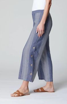 Striped Side-Button Crops   JJill Pull On Pants, Navy Blue, Buttons, Jeans, Fashion, Moda, Fashion Styles, Fashion Illustrations, Denim
