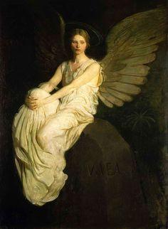 Abbott H. Thayer, Stevenson Memorial (1903).   Intended to commemorate the writer Robert Louis Stevenson. Model is Bessie Pric...