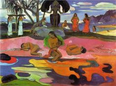 """Day of the God (Mahana no Atua) - Paul Gauguin.  1894.  Oil on canvas.  27 x 26"""".  The Art Institute of Chicago, Chicago, IL, USA."""