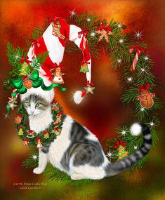 Cat In Xmas Cookie Hat art by Carol Cavalaris. Oh my Christmas cookies Will you look at that Green-eyed cat Wearing a delicious Candy cane striped Santa hat Decorated with gingerbread goodies How yummy is that!