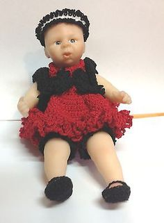 Small Doll Outfit Black and Red  Set Fits 8 to 9 Inch Doll