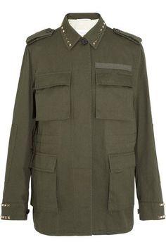 Valentino - Studded Cotton-gabardine Jacket - Army green - IT