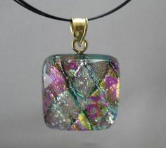 Beautiful pink and silver dichroic pendant in basketweave pattern.  Only $15.99 from Dichroic Adventures