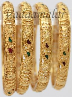 011 Gold microplated Valaial Bangles Bangle Bracelets with intricate designs - 4 pieces