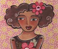 hand made paper doll with pink flowers brown dress
