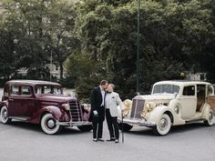Grooms kissing in front of antique getaway cars Great Gatsby Themed Wedding, Wedding Transportation, Wedding Pictures, Real Weddings, Couple Photos, Theme Ideas, Wedding Dreams, Grooms, Kissing