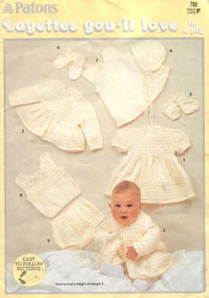 Stricken Baby :Patons 700 Layettes You ll Love , Baby Cardigan Knitting Pattern Free, Baby Sweater Patterns, Baby Knitting Patterns, Crochet Patterns, Knitted Baby Clothes, Baby Knits, Layette Pattern, Baby Girl Patterns, Baby Layette