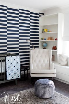 Modern Navy and White Nursery - love the bold prints and modern style!