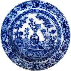 "Wedgwood Plate, ""Chinese Vase""/""Blue Bamboo"" Transferware, Antique c1805"