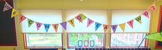 Lovely bunting from Twinkl displayed in a year 2 teacher's classroom. Click through to download this resource and welcome your class in to the new school year! (Platinum resource).