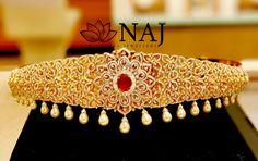 Naj Jewellery. Contact : 090320 41323 . Email :mynaj@najindia.com 1 Gram Gold Jewellery, Diamond Jewellery, Gold Jewelry, Vaddanam Designs, Jewellery Designs, Bridal Jewelry, Projects To Try, Bling, Indian