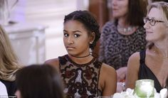 All grown up! Sasha Obama, 14, opted for a chic semi-sheer dress and wore her hair in trendy double braids