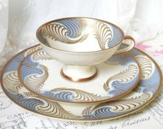 blue vintage teacup trio german porcelain tea cups tea trio german teacup tea cup and saucer  ETSY