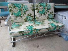 High Quality Vintage Glider Cushions   Vintage 50s Patio Glider W Original Cushions  Aluminum   EBay