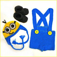 Handmade Crocheted Minion Unisex 3-Piece Costume Outfit Hat Bib Overalls Suspenders Booties Shoes on Etsy, $40.00