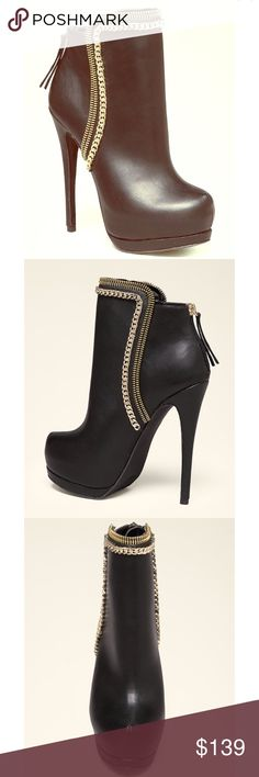 "Bebe Oliviaa 🔥flash sale 🌟 Zip and chain accented booties with poised, lifted toe and unique high-cut front. Tasseled back zip closure. Synthetic upper, synthetic outsole Imported Heel height: 5.51""(14.0 cm) with a 1.10"" (2.80 cm) platform, shaft height:3.54""(9.0 Ccm) bebe Shoes"