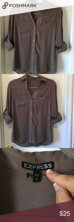 Express portofino blouse (tan) Professional button-up portofino blouse from Express. Tan, worn very few times. Great condition - no wear and tear. Size XS but fits like a small. Express Tops Button Down Shirts