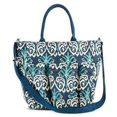 Women's Ikat Print Canvas Weekender Tote Handbag - Blue